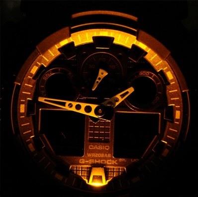 Osvětlení hodinek Casio G-shock GA100–1A1