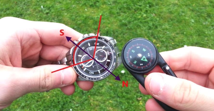 Jak použít hodinky jako kompas?