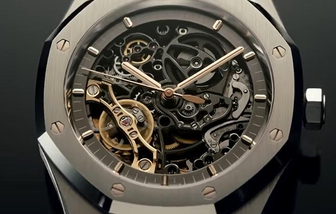 I takto krásně můžete vidět vnitřek skeletonových hodinek