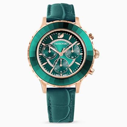 Krásné zelené hodinky s kamínky Swarovski