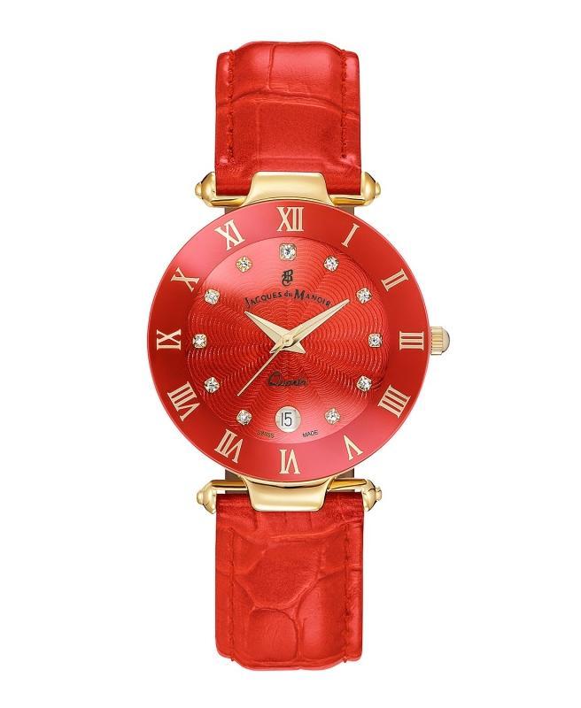 Dámské červené hodinky s drahými kameny