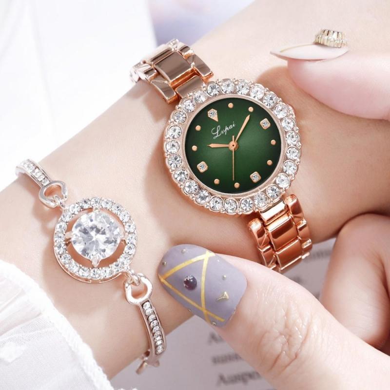 Krásné elegantní zelené dámské hodinky