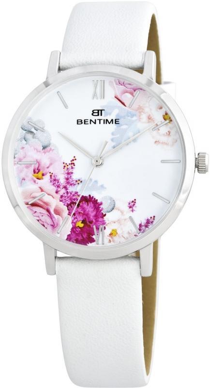 Dámské bílé analogové hodinky Bentime