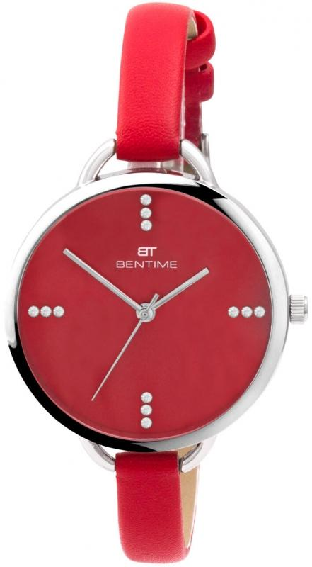Dámské červené analogové hodinky Bentime
