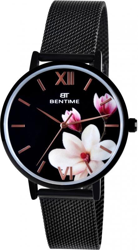 Dámské černé květinové hodinky Bentime