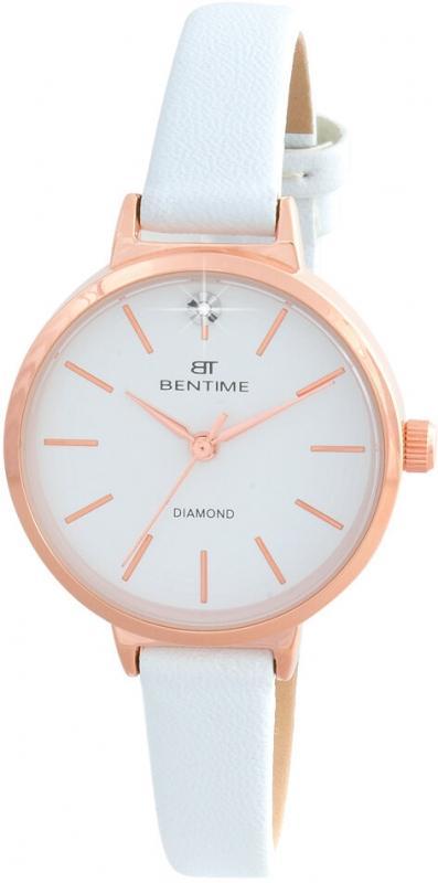 Dámské bílé hodinky Bentime s diamantem