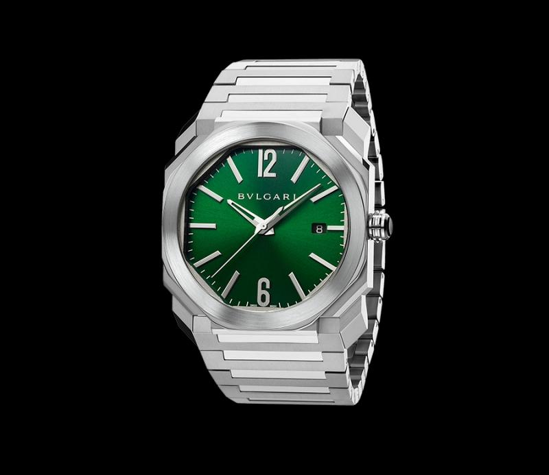 bvlgari octo green face watch
