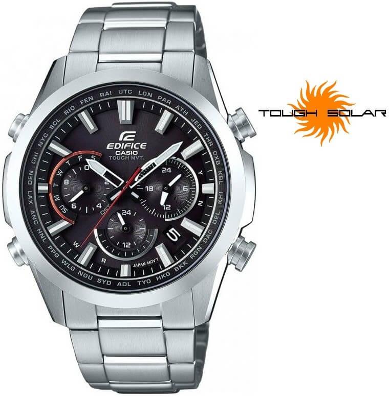 Pánské stříbrné hodinky Edifice EQW-T650D-1AER Solar Rádiově řízené