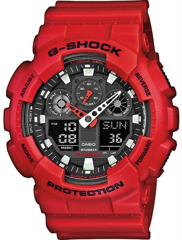 Pánské červené hodinky Casio G-SHOCK GA 100BW-1A