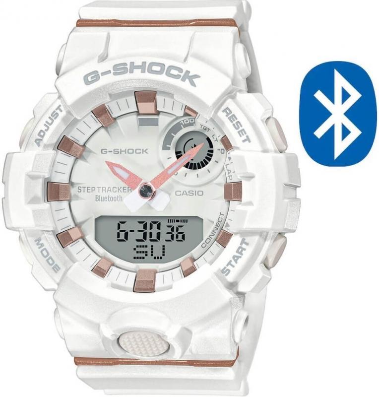 Dámské bílé hodinky Casio G-Shock Step Tracker