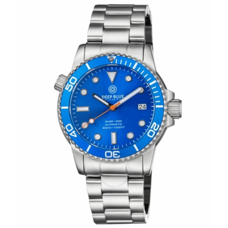 Modré hodinky pro muže Deep Blue Diver 1000
