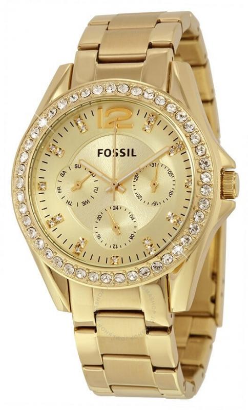 Dámské zlaté hodinky Fossil Riley ES3203