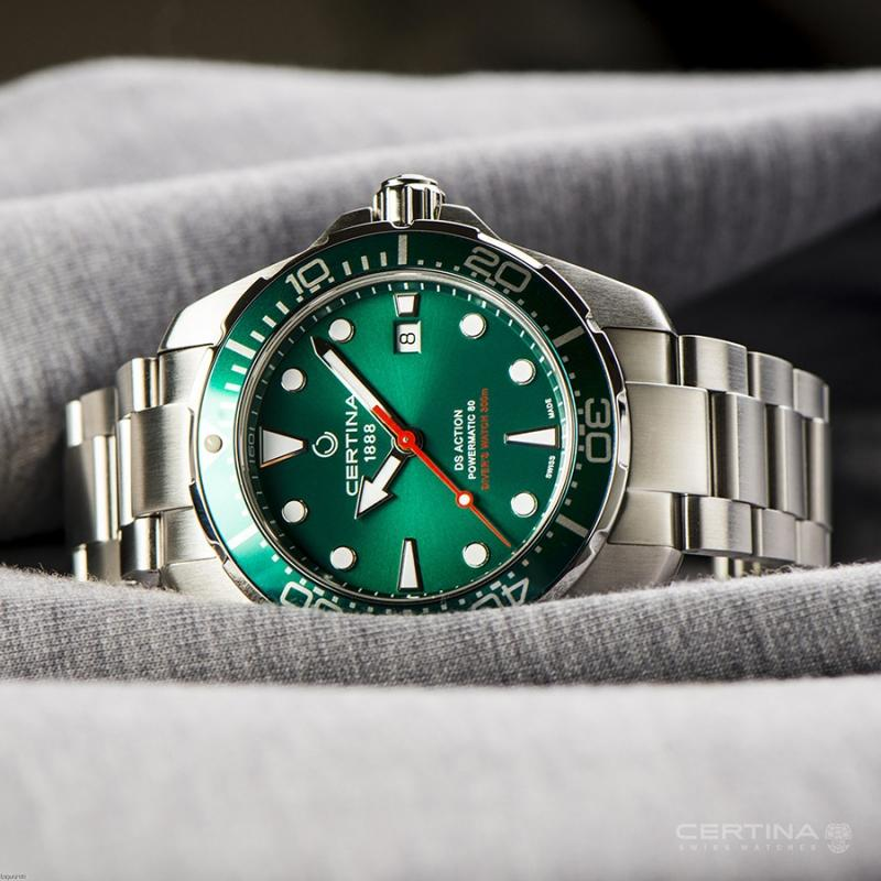 green certina ds action diver powermatic 80