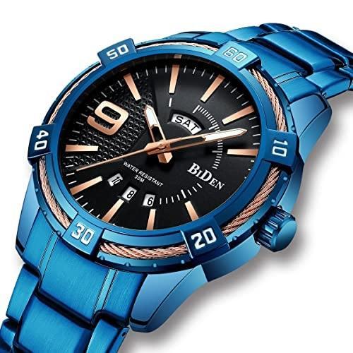 Modré pánské hodinky s tmavým ciferníkem