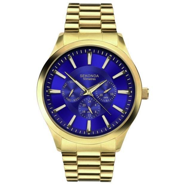 Modré pánské hodinky v kombinaci se zlatým pouzdrem