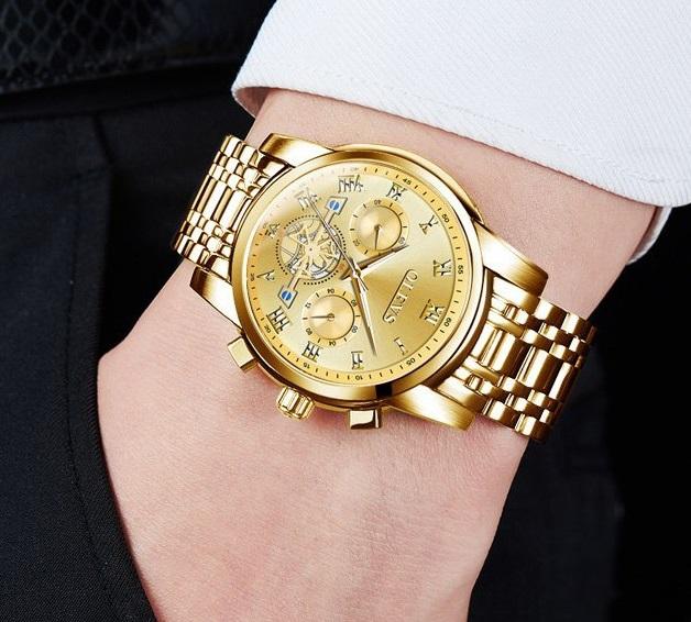 Pánské zlaté hodinky se zlatým displayem