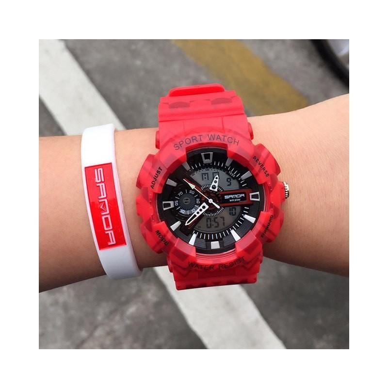Sportovní dámské červené hodinky