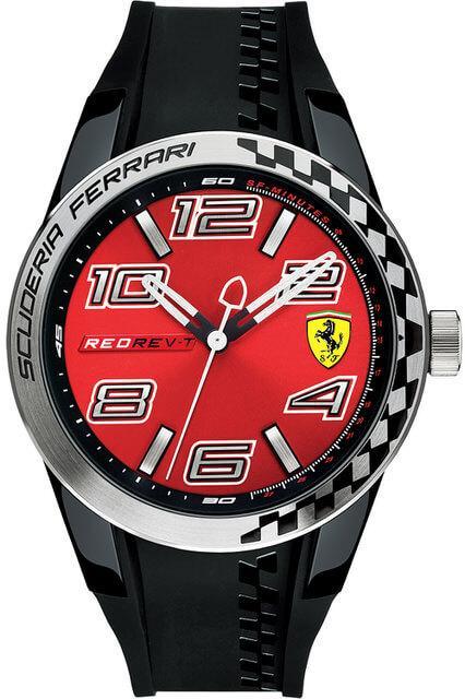 Pánské červené hodinky Scuderia Ferrari Red Rev-T 0830335