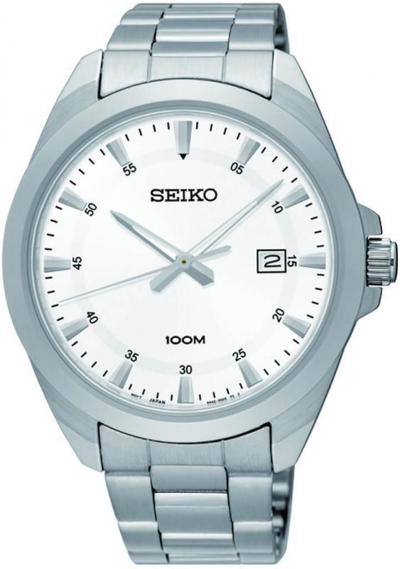 Bílé pánské hodinky Seiko Quartz SUR205P1