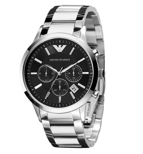 Stříbrné hodinky Emporio Armani